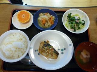 きのうのお昼ご飯は、鯖の香味しょうゆ焼き、おろし和え、切り干し煮、味噌汁、果物でした。