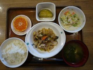 今日のお昼ご飯は、豚肉と野菜の煮物、ツナマヨ和え、さつま芋煮、味噌汁、果物でした。