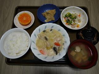 きょうのお昼ごはんは、クリームシチュー、サラダ、含め煮、味噌汁、果物でした。