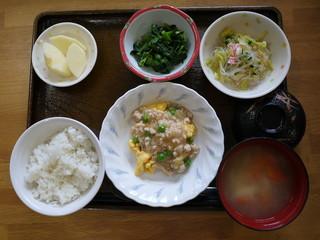 きょうのお昼ご飯は、麻婆炒り卵、春雨サラダ、からし和え、味噌汁、くだものでした。
