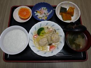 きょうのお昼ごはんは、肉団子のクリーム煮、サラダ、かぼちゃ煮、味噌汁、果物でした。