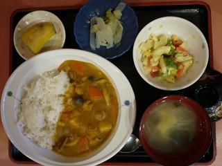 きょうのお昼ごはんは、カレーライス、マカロニサラダ、浅漬け、味噌汁、果物でした。