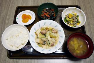 きょうのお昼ごはんは、厚揚げとキャベツの塩炒め、中華和え、煮物、みそ汁、くだものでした。