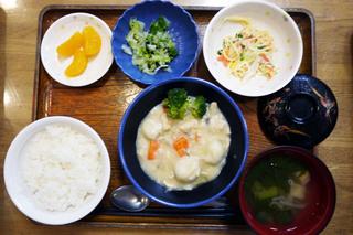 きょうのお昼ごはんは、クリームシチュー、サラダ、浅漬け、みそ汁、くだものでした。