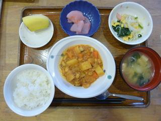 きょうのお昼ご飯は、ポークビーンズ、サラダ、紅生姜大根、味噌汁、果物でした。