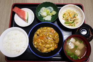 今日のお昼ご飯は、鶏肉の大豆カレー煮、サラダ、浅漬け、味噌汁、果物でした。