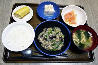 きょうのお昼ごはんは、和風麻婆なす、ねぎ塩奴、冷やしトマト、味噌汁、くだものでした。