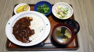 きょうのお昼ごはんは、ハヤシライス、マカロニサラダ、浅漬け、味噌汁、くだものです。