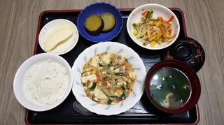 きょうのお昼ごはんは、麻婆豆腐、春雨サラダ、さつま芋煮、味噌汁、果物でした。