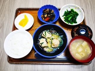 きょうのお昼ごはんは、肉団子と白菜の煮物、カレー煮、お浸し、味噌汁、果物でした。