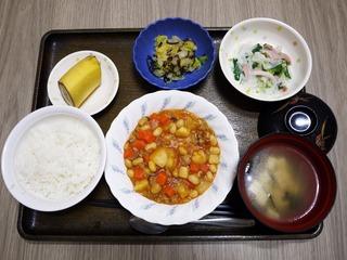 きょうのお昼ごはんは、ポークビーンズ、大根サラダ、浅漬け、味噌汁、果物でした。