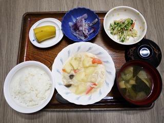 きょうのお昼ごはんは、クリームシチュー、サラダ、ゆかり大根、味噌汁、くだものでした。