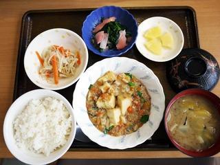 きょうのお昼ごはんは、家常豆腐、ナルム、生姜和え、みそ汁、くだものでした。