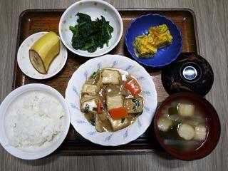 きょうのお昼ごはんは、厚揚げのあんかけ煮、青菜和え、ねぎ卵焼き、味噌汁、くだものでした。