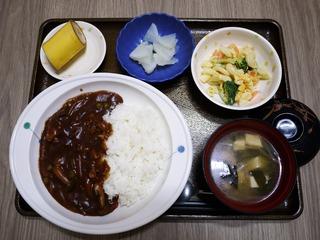 きょうのお昼ごはんは、ハヤシライス、卵サラダ、浅漬け、味噌汁、くだものでした。