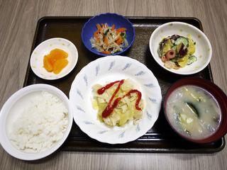 きょうのお昼ごはんは、挽肉とキャベツの重ね蒸し・かぼちゃサラダ・ナムル・みそ汁・くだものでした。