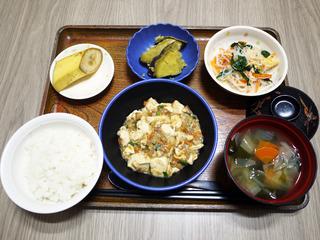 きょうのお昼ごはんは、麻婆豆腐・春雨サラダ・さつまいもの甘辛煮・みそ汁・くだものでした。