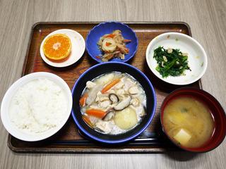 きょうのお昼ごはんは、吉野煮・天かす和え・切り干し煮・みそ汁・くだものでした。