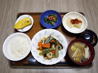 きょうのお昼ごはんは、炊き合わせ・からしマヨネーズ和え・ふろふき大根・みそ汁・くだものでした。