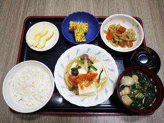 きょうのお昼ごはんは、豆腐の野菜あんかけ・根菜きんぴら・ねぎ卵焼き・みそ汁・くだものでした。