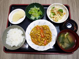 きょうのお昼ごはんは、鶏肉と大豆のカレー煮・スパゲティサラダ・浅漬け・みそ汁・くだものでした。