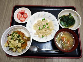 きょうのお昼ごはんは、かき揚げ丼・大根のそぼろ煮・もずく和え・みそ汁・くだものでした。