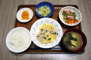 きょうのお昼ごはんは、麻婆炒り卵・サラダ・浅漬け・みそ汁・くだものでした。