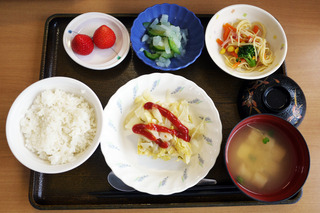 きょうのお昼ごはんは、挽肉とキャベツの重ね蒸し・サラダ・浅漬け・みそ汁・くだものでした。