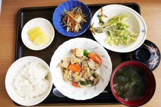 きょうのお昼ごはんは、豚肉と厚揚げのみそ炒め・こしあぶらの天ぷら・きんぴら・みそ汁・くだものでした。