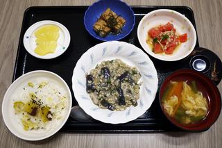 今日のお昼ごはんは、和風麻婆なす・トマトとみょうがのサラダ・含め煮・味噌汁・果物でした。