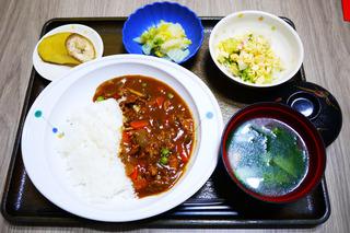 きょうのお昼ごはんは、ハヤシライス・卵サラダ・生姜和え・みそ汁・果物でした。
