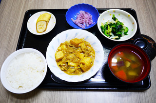 きょうのお昼ごはんは、豚肉と厚揚げの和風カレー煮、焼きのり和え、ゆかり大根、みそ汁、果物でした。