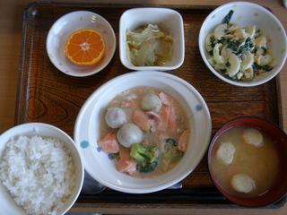 今日のお昼ご飯は、鮭と里芋のシチュー、サラダ、煮浸し、味噌汁、くだものでした。