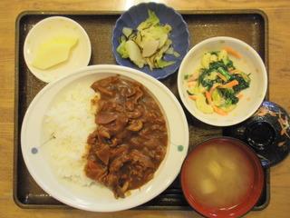 きょうのお昼ご飯は、ハヤシライス、マカロニサラダ、浅漬け、味噌汁、果物でした。