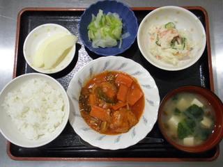 きょうのお昼ごはんは、煮込みハンバーグ、ポテトサラダ、和え物、味噌汁、くだものでした。