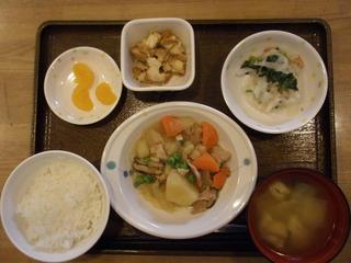 今日のお昼ご飯は、肉じゃが、サラダ、煮物、味噌汁、果物でした。