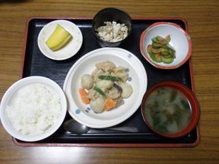 今日のお昼ご飯は、鶏肉と大豆のカレー煮、サラダ、浅漬、味噌汁、果物です。