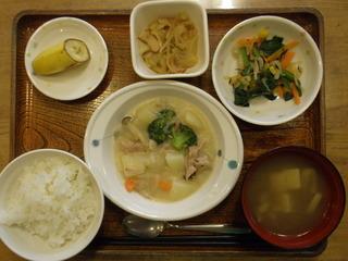 今日のお昼ご飯は、シチュー、サラダ、煮浸し、味噌汁、果物でした。
