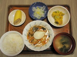 きょうのお昼ご飯は、落とし卵のあんかけ、かぼちゃサラダ、お浸し、お味噌汁、果物でした。