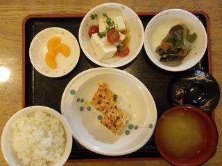 今日のお昼ご飯は、枝豆入りハンバーグ、豆腐サラダ、みそ炒め、味噌汁、果物でした。
