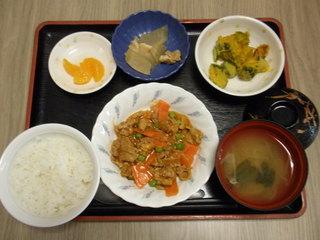 きょうのお昼ご飯は、ポークチャップ、かぼちゃサラダ、煮物、みそしる、くだものでした。