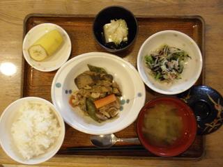 今日のお昼ご飯は、ナスとピーマンのみそカポナータ、おろし和え、塩ネギ奴、味噌汁、果物です。 夏野菜の美味しい時期になりました。旬の物をしっかり使っています。