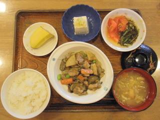 今日のお昼ご飯は、鶏肉のみそ炒め、塩ねぎ奴、もずく和え、味噌汁、果物でした。