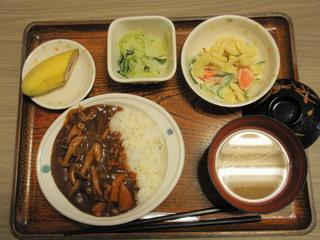 きょうのお昼ごはんは、ハヤシライス、サラダ、浅漬け、味噌汁、果物でした。
