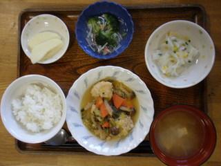 きょうのお昼ごはんは、肉団子煮、大根サラダ、かにかまあん、味噌汁、果物でした。