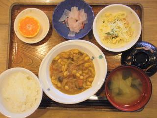 きょうのお昼ご飯は、鶏肉と大豆のカレー煮、サラダ、紅しょうが大根、味噌汁、果物でした。