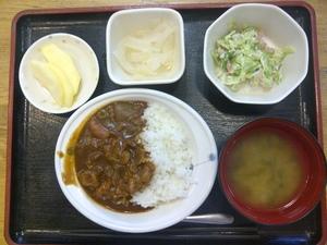 きょうのお昼ご飯は、ハヤシライス、シーザーサラダ、即席漬け、味噌汁、果物です。