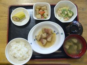 今日のお昼ご飯は、鮭と野菜のシチュー、サラダ、コロコロ煮、味噌汁、果物です。