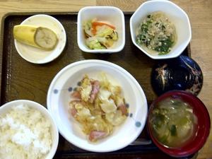 今日のお昼ご飯は、ジャガイモのクリームマヨネーズ焼き、そぼろ煮、和え物、味噌汁、果物でした。