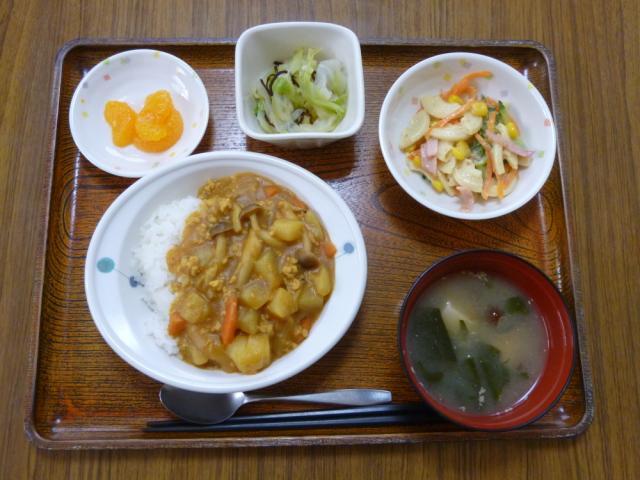 今日のお昼は、挽肉カレー、マカロニサラダ、浅漬け、味噌汁、果物です。